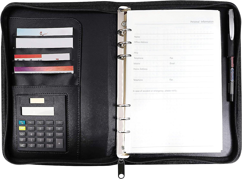 Agenda Organizador Personal A5 Cuero Sintético Negro con Calculadora por Kurtzy - Carpeta con Aro Rellenable - Soporte Tarjetas de Presentación - Diario con Cremallera - Para Hombres y Mujeres