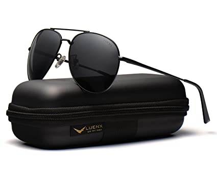 LUENX Herren Sonnenbrille Aviator Polarisiert mit Etui - UV 400 Schutz Schwarz Linse Schwarz Rahmen 60mm lazaE