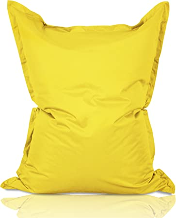 Imagen deLumaland PUF otomano Puff XXL 140 x 180 cm 380l con Relleno Innovador Maxi Puff en algodón para Interiores Amarillo