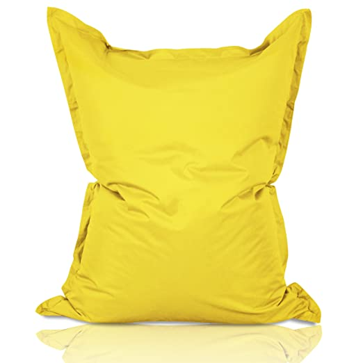 Lumaland PUF otomano Puff XXL 140 x 180 cm 380l con Relleno Innovador Maxi Puff en algodón para Interiores Amarillo