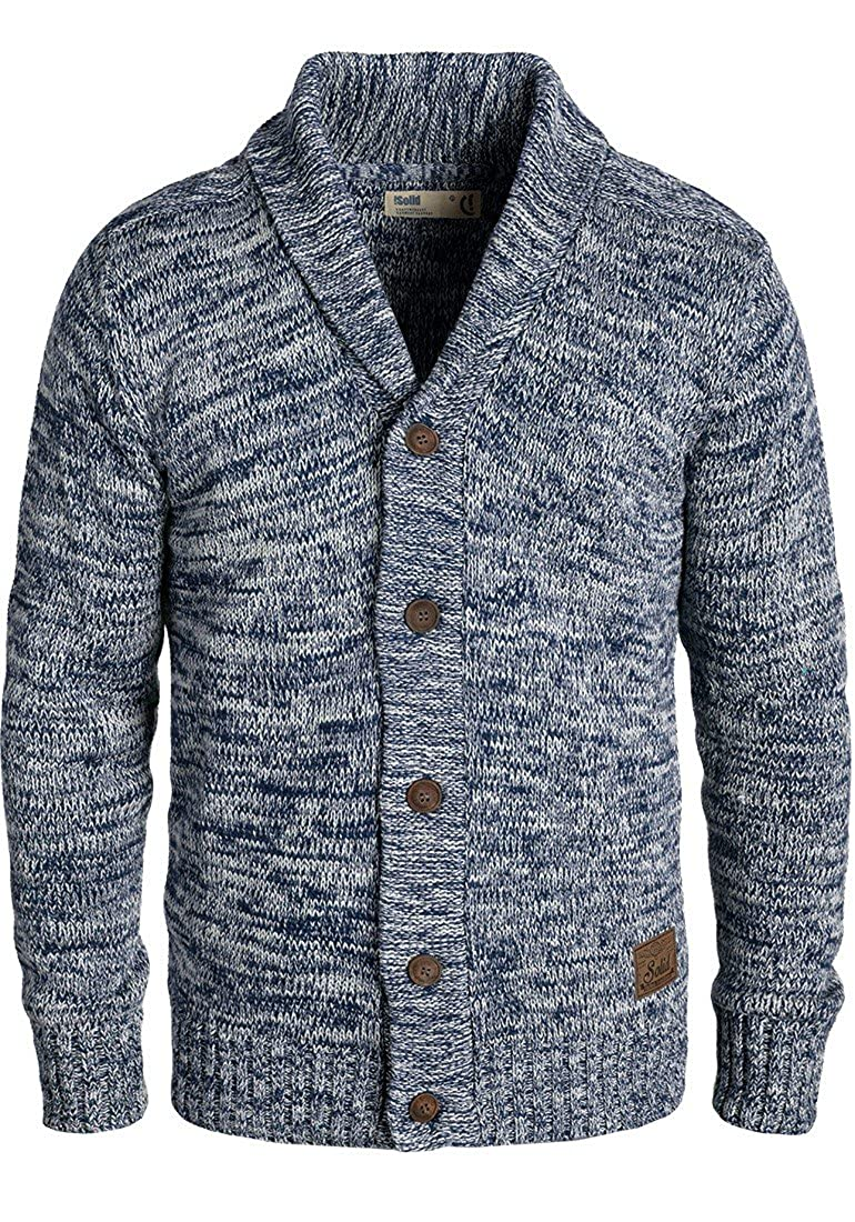 !Solid Philip Herren Strickjacke Cardigan Grobstrick Mit Schalkragen Aus 100% Baumwolle