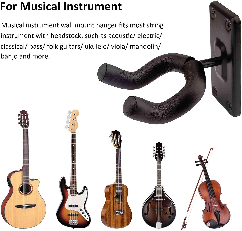Guitar Wall Mount Hanger Black Acoustic Hook 4 pack Electric Guitar Holder for Acoustic Electric Classical Bass Guitar Ukulele Mandolin Banjo