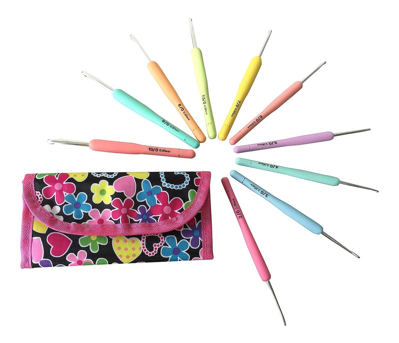 10 Crochet Hooks Set Organizer Case, Ergonomic Aluminum Hooks, Needle Size 2mm 2.2,mm(B) 2.5mm 3mm(D) 3.5mm(E) 4mm(G) 4.5mm(7) 5mm(H) 5.5mm(I) 6mm(J) Eiffel Space