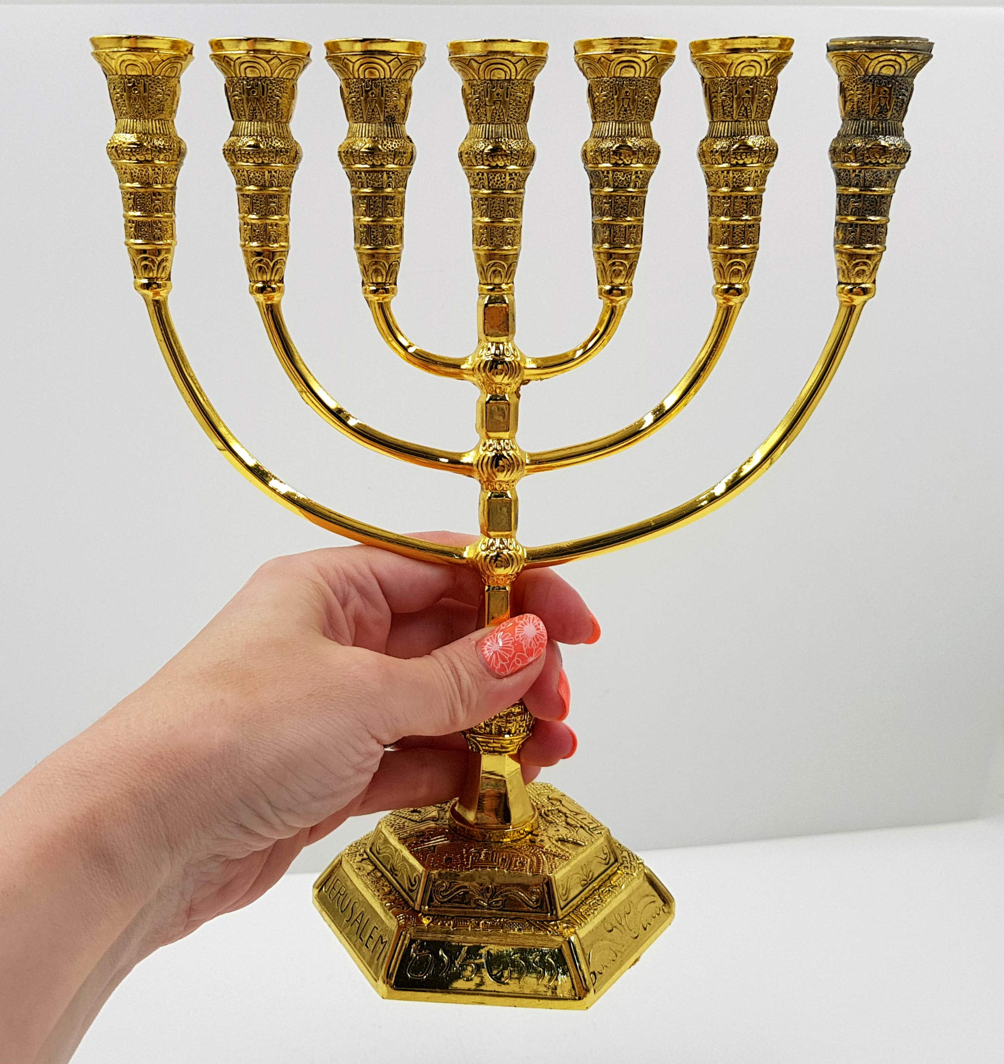 Talisman4U Jerusalem 7 Branch TEMPLE MENORAH 12 Tribes Of Israel Antique Gold Plated Candles Holder Height 9 Inch / 22 cm by Talisman4U (Image #3)
