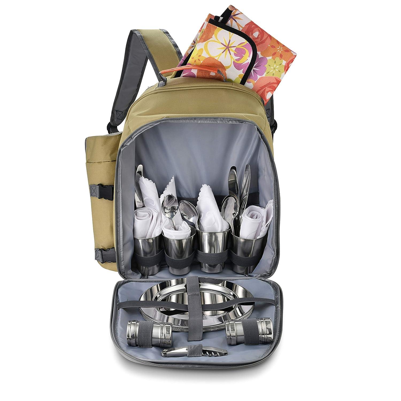 inkl Luxus-Besteck isoliert Rucks/äcke f/ür Outdoor Camping /& Wandern summerease Picknick-Rucksack f/ür 4 Personen Teller und Bechern weich und wasserdicht K/ühlbox mit F/ächern