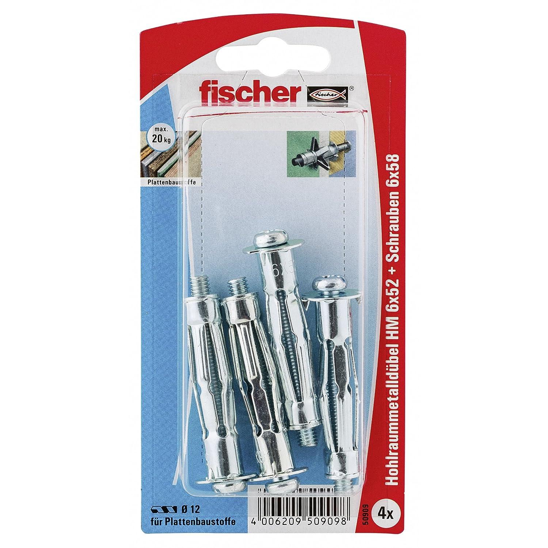 Fischer Hohlraum-Metalldü bel HM 5 x 65 HK SB-Karte, 4 x Winkelhaken mit Bund 5 x 70, 014804 Fischerwerke GmbH & Co. KG