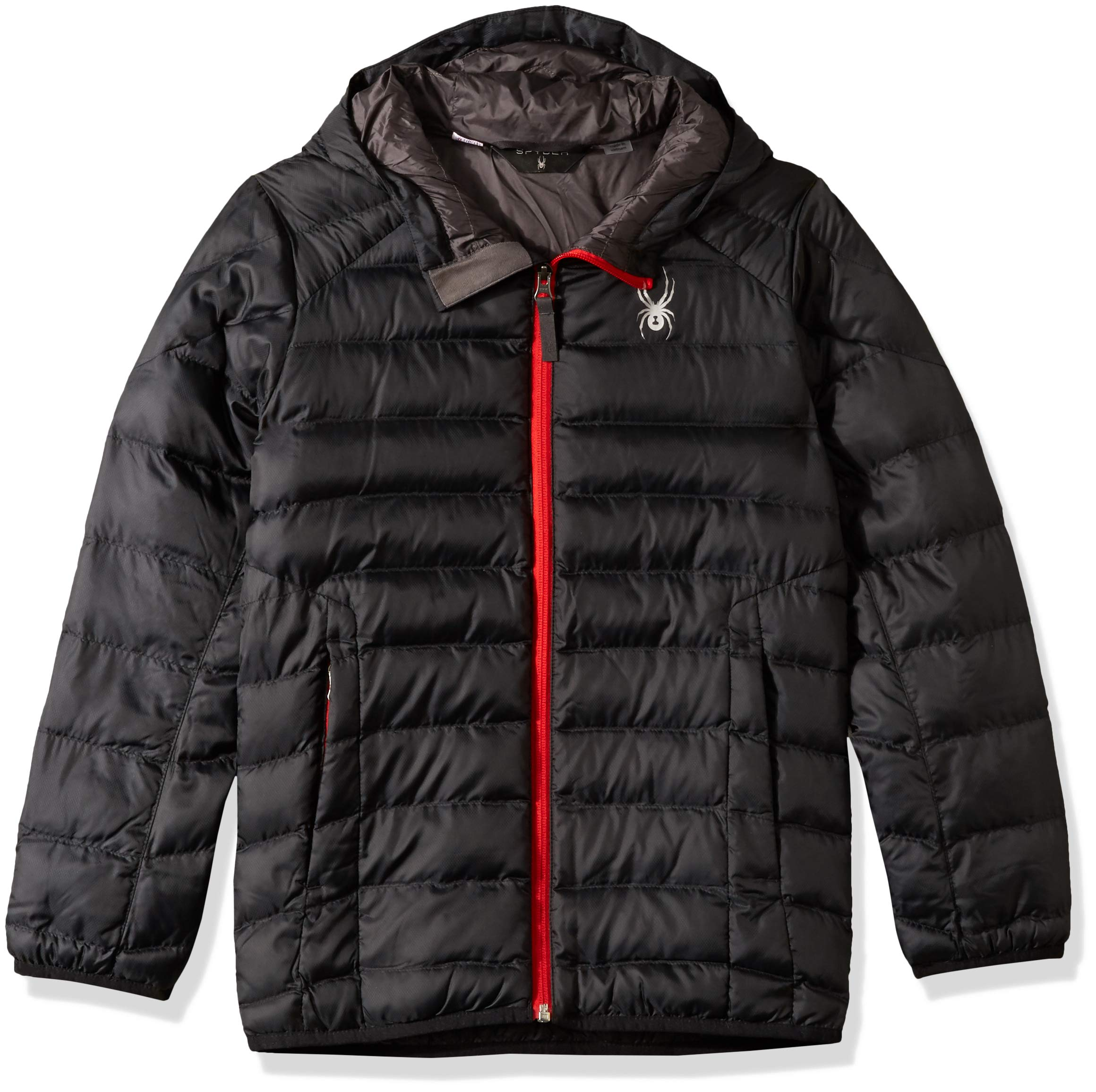 Spyder Boys' Geared Hoody Synthetic Down Jacket, Black/Black/Red, Large