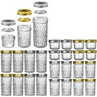 SnailBrother Mason Jars Multi Size Pack - 4 Oz × 8 Pcs + 8 Oz × 8 Pcs + 12 Oz × 8 Pcs Glass Canning Jars with Lids and…