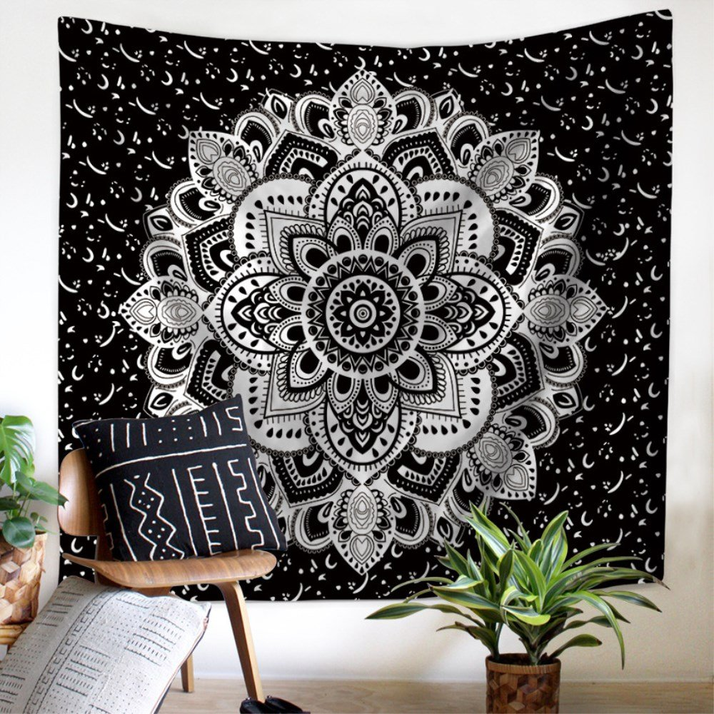 Tapestry Wall Hanging Black and White Sun, Hippy Mandala Bohemian Tapestries, Indian Home Decor Wall Art Beach Throw College Dorm Boho, 59x51 by ZHH 59x51 by ZHH