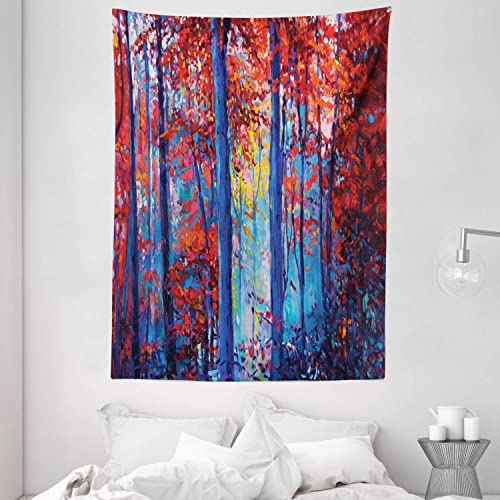 Ambesonne Forest Tapestry, Oil Painting View Autumn Forest Modern Impressionism Artwork Print, Wall Hanging for Bedroom Living Room Dorm, 60 X 80 , Navy Blue