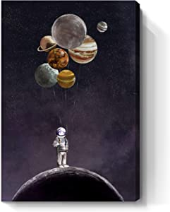 Inspirational Wall Art for Office Outer Space Theme Wall Decor for Men Women Bedroom Motivational Canvas Print Framed Artwork for Home Walls Bathroom Living Room Childrens Room 16X24inch