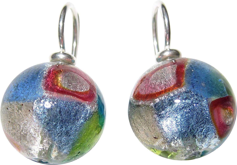 Pendientes colgantes de cristal de Murano con perla estampada de 14 mm de diámetro, de plata de ley 925, pieza única artesanal, multicolor especial