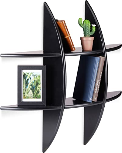Relaxdays Round Wall Shelf with 6 Compartments, Floating Shelf, Decorative Spice Rack, CD Shelf, Bookcase, Black