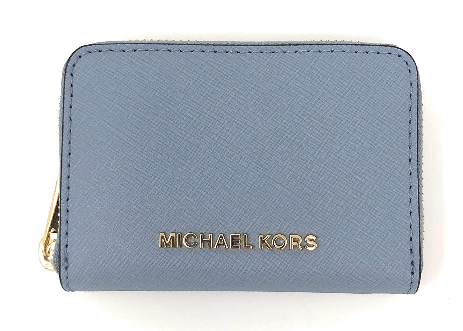 official photos 64a85 4dab0 Michael Kors Jet Set Travel Card Case Zip Around Leather Wallet (Pale Blue)