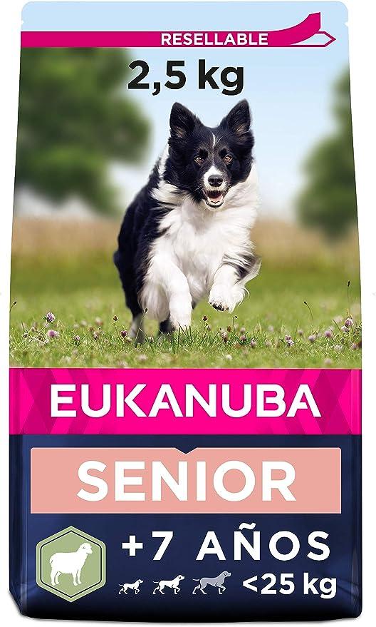 Eukanuba Alimento seco para perros senior de razas pequeñas y medianas, rico en cordero y arroz, 2,5 kg