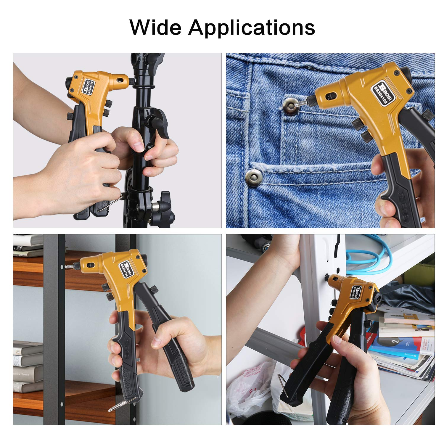 Rivet Gun One Hand Riveter Kits with 4 Interchangeable Nosepieces 4 in 1 Rivet Tools with 80pcs Rivets BOSI Tools BS304108