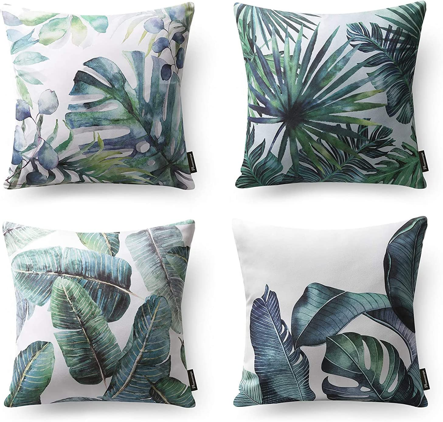 Phantoscope Set of 4 Tropical Palm Leaves Plant Printed Throw Pillow Case Cushion Cover, Dark Green, 18 x 18 inches, 45 x 45 cm