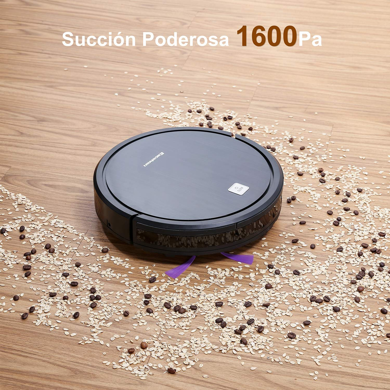 EXCELVAN Robot Aspirador Aspiradora, Succión 1600Pa, Autonomía 120min, Tecnología Detección Infrarroja, Control Remoto y 4 Modos, Exploración Inferior y ...