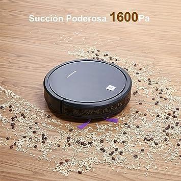 Excelvan D35 Robot Aspirador, Succión 1600Pa, Autonomía hasta 120min, Tecnología Detección Infrarroja, Control Remoto y 4 Modos, Exploración Inferior y ...