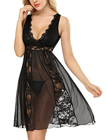 7c236475294 DLOREUK Sexy Lingerie Womens Nightdress Lace Mesh Babydoll Black Small