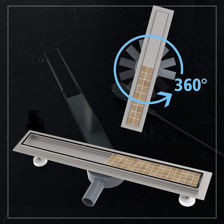 Caniveau de Douche Italienne 60 cm INOX /Écoulement Siphon 360/°/à carreler