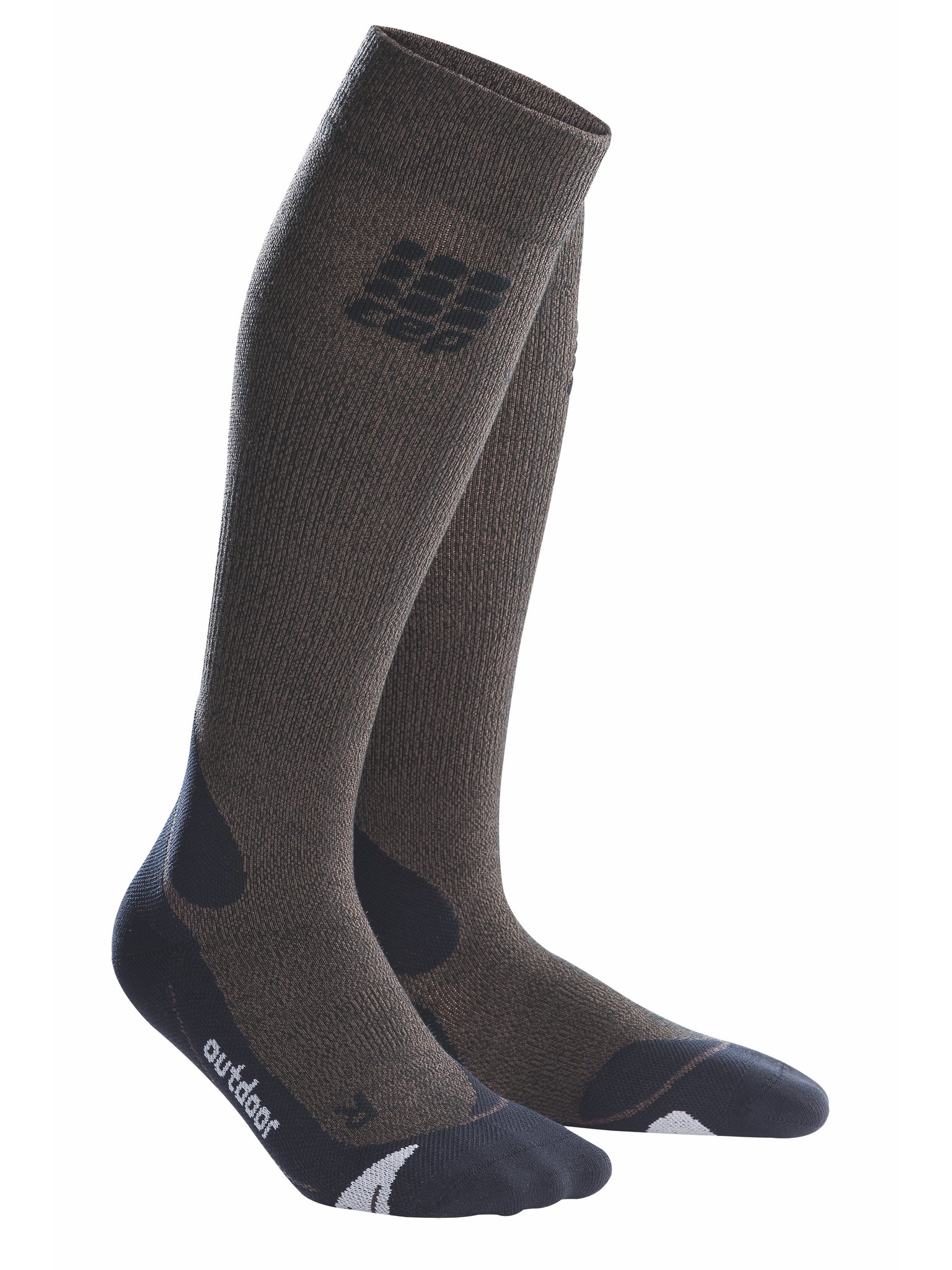 CEP Womens Long Compression Wool Socks Outdoor Merino (Brown/Black) 2 by CEP