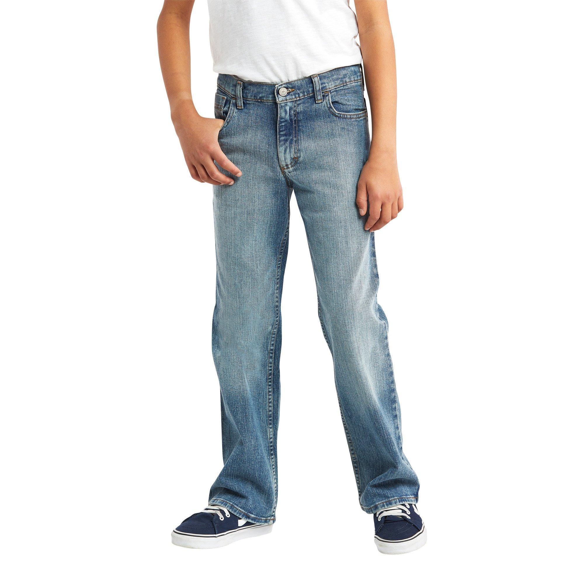 Wrangler Authentics Big Boys' Boot Cut Jeans, Stonewash Indigo, 12
