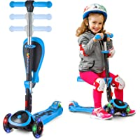 Scooter for Kids with Folding/Removable Seat – 2 in 1 Adjustable Height, 3 LED Light Wheels, Kick Scooter for Girls & Boys – Best Children Scooter 4 Babies and Toddlers Ages 2 Years Old and Up