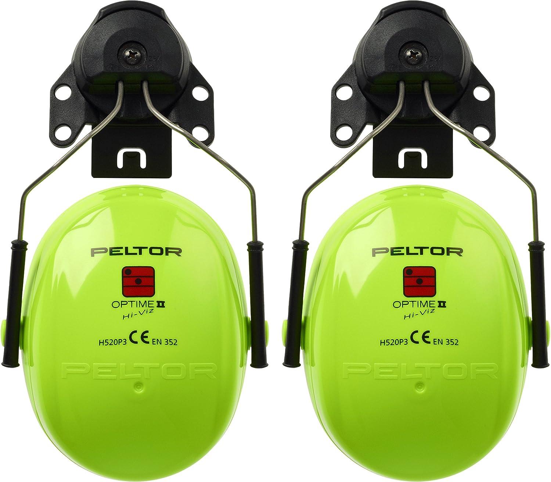 3M PELTOR Optime II Earmuffs, 30 dB, Hi-Viz, Helmet Mounted, H520P3E-467-GB 7000038210