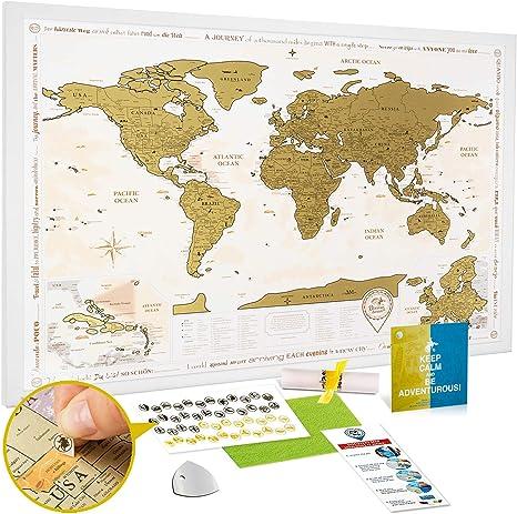 Mapa Mundi Rascar en el Marco Blanco - Mapa del Mundo para Raspar Grande Detallado 88 x 62 cm - Mapamundi Rasca Dorado - Scratch off World Travel Map Poster - Carta
