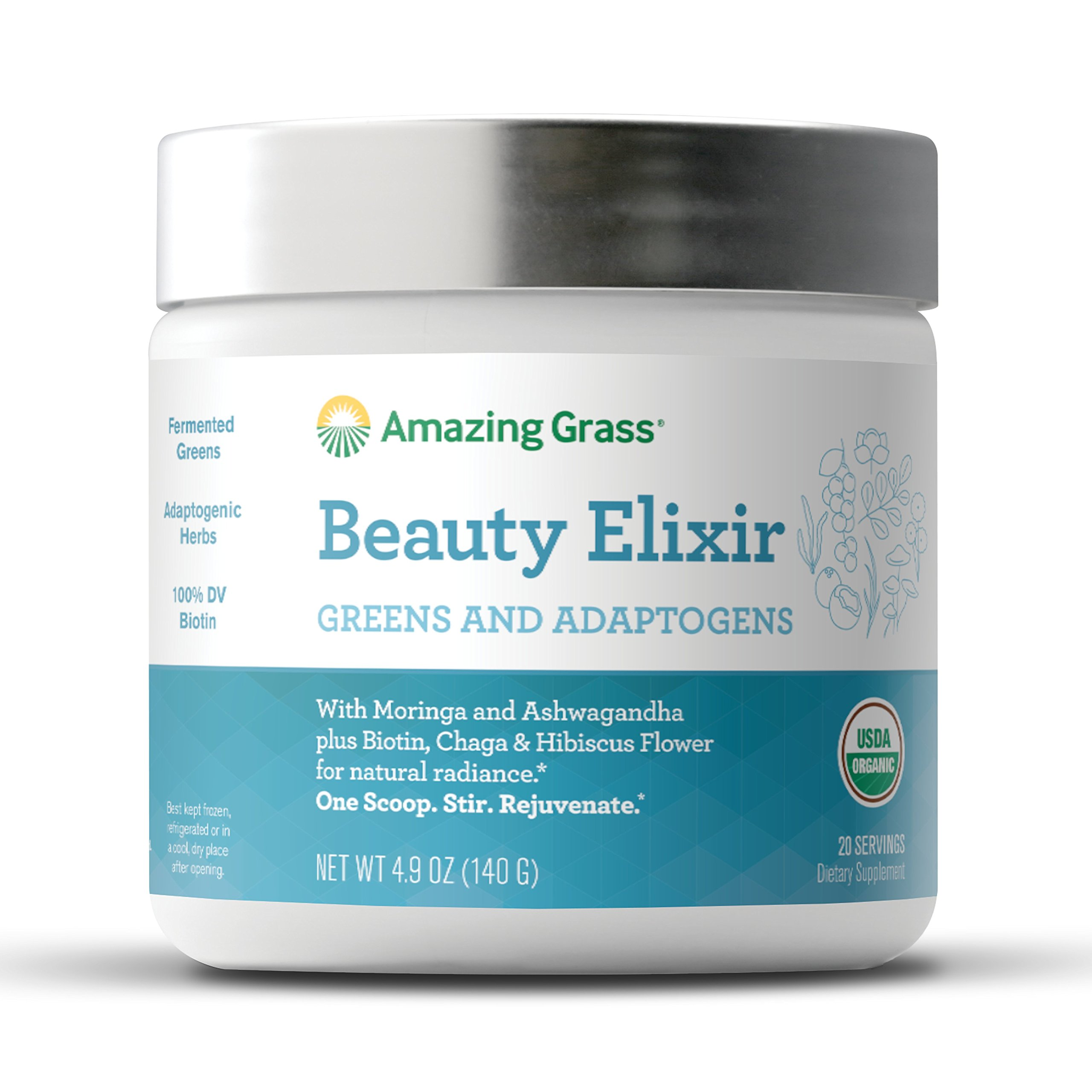 Amazing Grass Beauty Elixir, Greens and Adaptogens Organic Powder, 20 Serving Tub, 4.9 oz