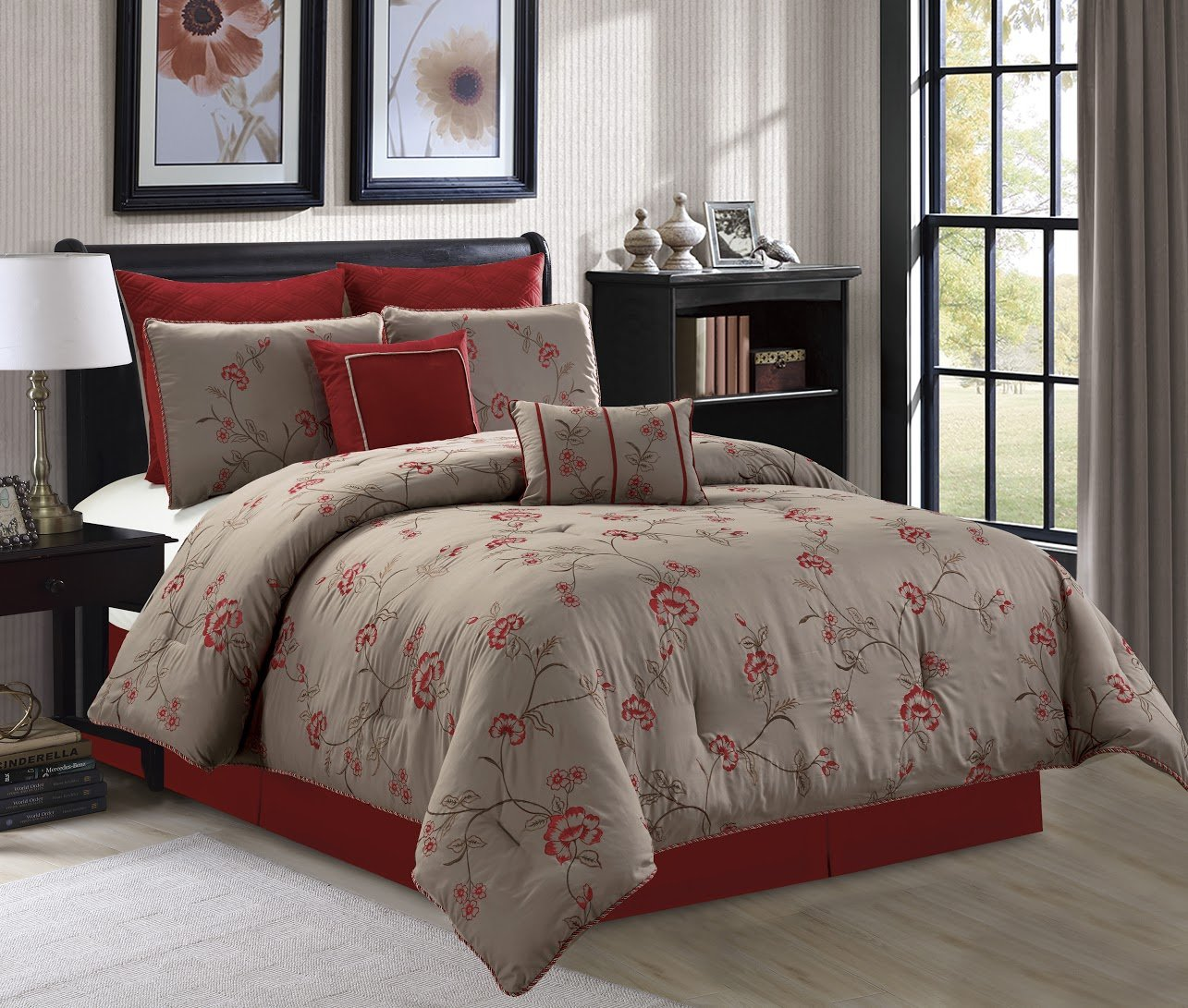 Chelsea by Chezmoi Collection 8-piece Anemone Red Taupe Floral Embroidery Bedding Comforter Set
