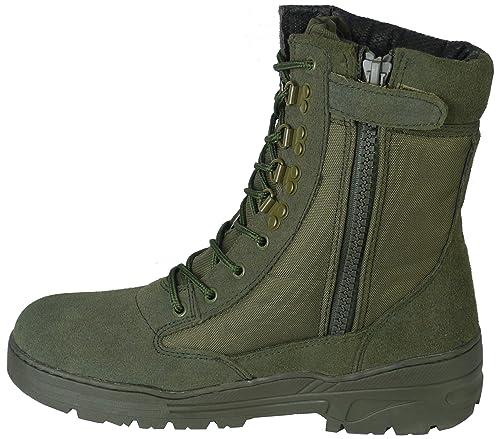 Savage Island Botas Verdes de Ante con Cremallera para Senderismo Airsoft: Amazon.es: Zapatos y complementos