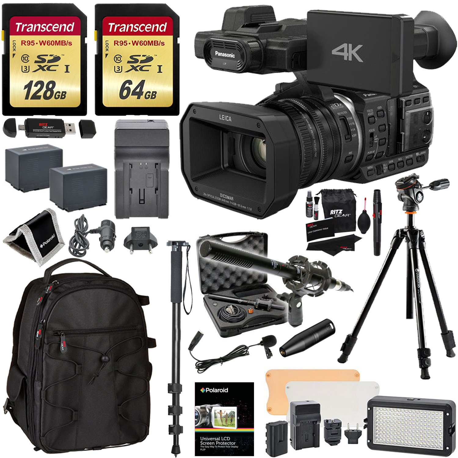 Panasonic HC-X1000 4K-60p/50p Camcorder with High-Powered 20x Optical Zoom and Professional Functions, Transcend 128 GB U3 SDXC, 64GB Card + Polaroid Pro Video Microphone + VANGUARD Tripod Bundle
