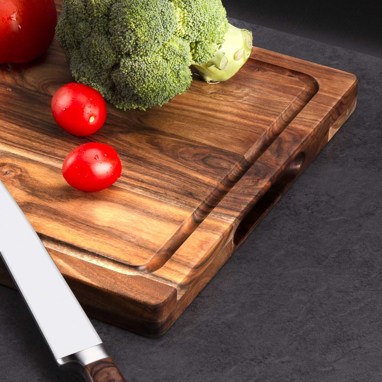 AIJAI Natural Wood Cutting Board(M-XL), Large Multipurpose Thick Acacia Wood Chopping Board for Kitchen Serving Tray for Vegetables, Fruit, Meat, Fish & Cheese| Reversible Butcher Block by AIJAI (Image #4)