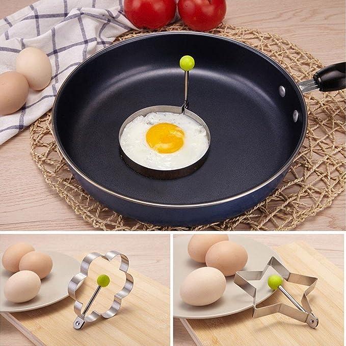 Slomg set de 8 piezas de moldes para huevos fritos, panqueques y galletas, utensilio de cocina para horno fabricados con acero inoxidable: Amazon.es: Hogar