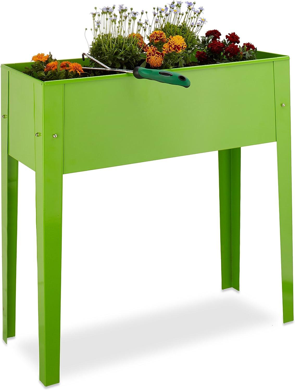 Relaxdays, Verde Huerto Urbano, Recipiente para Plantas, Tiesto de balcón, Metal, 80,5 x 81,5 x 31 cm, 31 x 81.5 x 80.5 cm