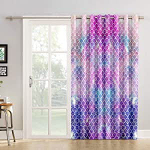 "Blackout Curtains Ombre Beauty Mermaid Fish Scale Livingroom Bedroom Darkening Window Draperies & Curtains for Sliding Glass Door Home Office Decor 52"" W by 24"" L"