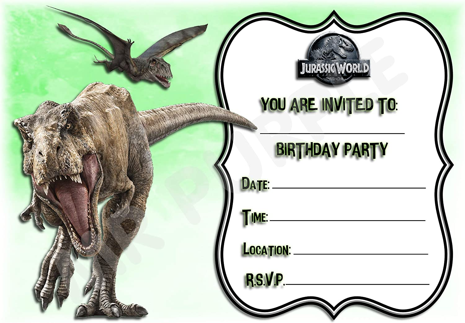 Dinosaur Landscape Frame Design Pack of 12 A5 Invitations Jurassic World Birthday Party Invites with Envelopes Party Decorations//Accessories