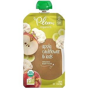 Plum Organics Stage 2 Organic Baby Food, Apple, Cauliflower & Leek, 3.5 Ounce Pouch (Pack of 6)