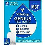 VitaCup Genius Chai Tea Bags 14ct w/ KETO MCT Oil, Turmeric, Cinnamon, & Vitamin for Energy and Focus in Sealed Single Serve