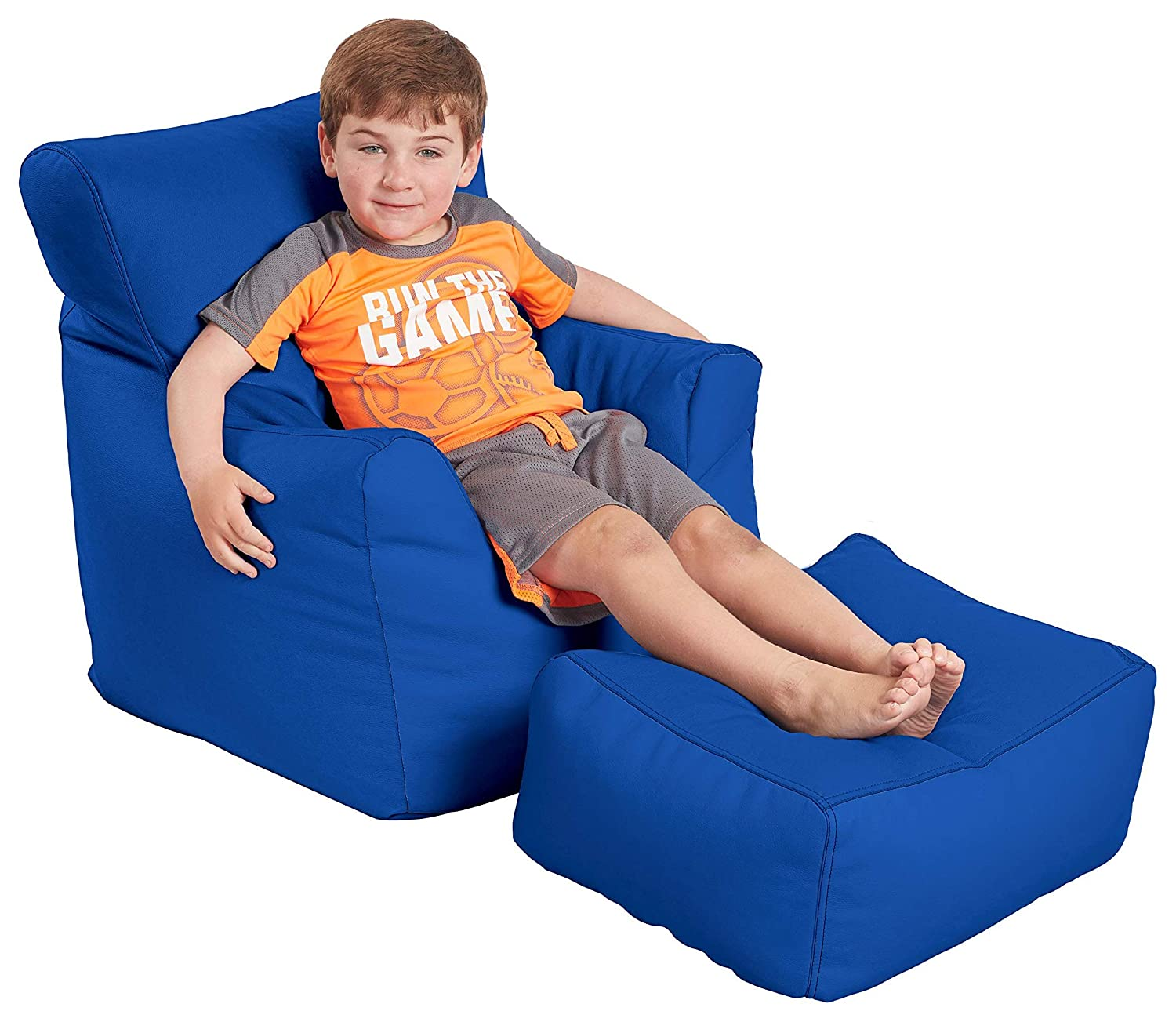 FDP SoftScape Bean Bag Chair and Ottoman Set, Furniture for Kids, Perfect for Reading, Playing Video Games or Relaxing, Alternative Seating for Classrooms, Daycares, Libraries or Home - Blue