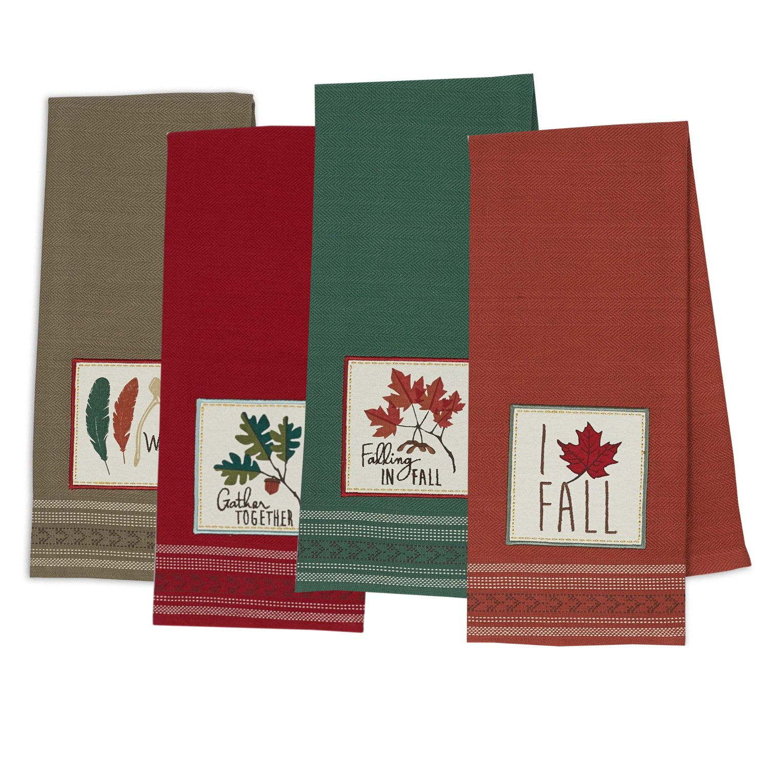 DII Cotton Thanksgiving Fall Holiday Decorative Dish Towels, 18x28, Set of 4-Fall Gather
