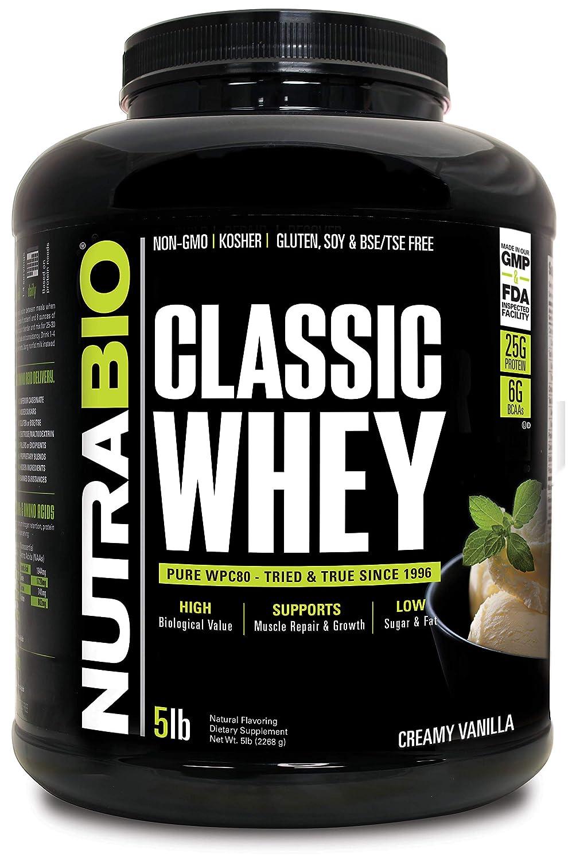NutraBio Classic Whey Protein – 5 Pounds Creamy Vanilla