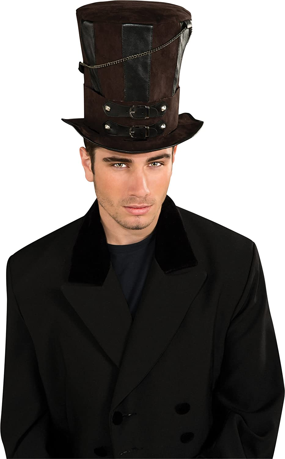 Steampunk Hats for Men | Top Hat, Bowler, Masks Rubies Costume Steampunk Top Hat With Chains and Buckles $14.93 AT vintagedancer.com