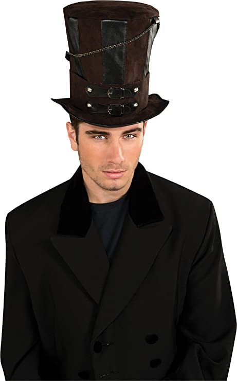 Steampunk Men's Hats Rubies Costume Steampunk Top Hat With Chains and Buckles $11.49 AT vintagedancer.com