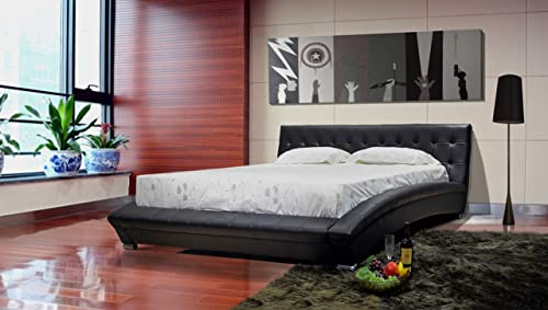 GREATIME B1053-5 Calking Black Modern Leatherette Platform Bed