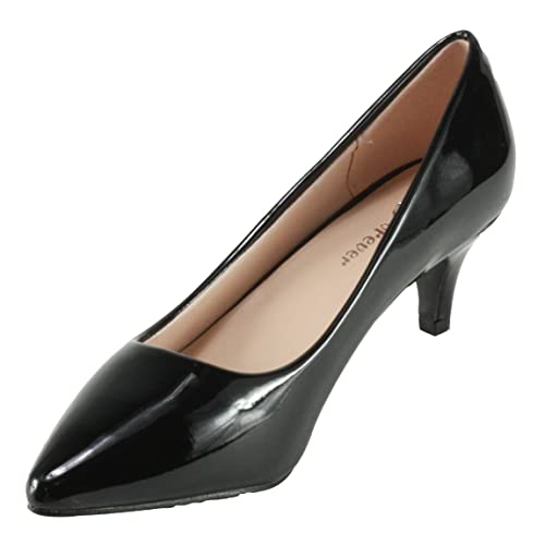 ca914d64a2 Forever Women's Aubree-16 Pointed Toe Patent Leatherette Kitten Heel Dress  Pumps (6,