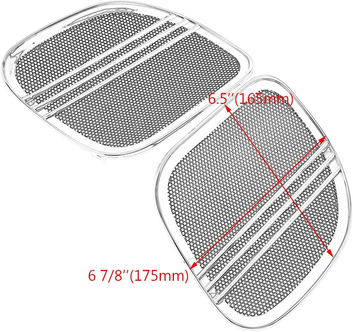 Rebacker Motorbike Tri-Line Speaker Grills Cover Trim Mesh for Harley Road Glide FLTRX 2015 2016 2017 2018,Chrome