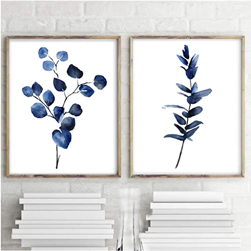 Amazon Com Navy Eucalyptus Print Set 2 Blue Plant Leaves Watercolor Painting Botanical Print Nursery Wall Art Decor Kitchen Decor Handmade